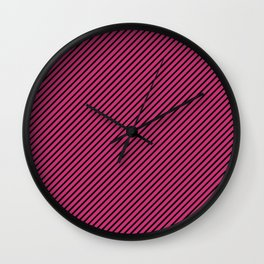 Pink Yarrow and Black Stripe Wall Clock