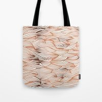 rose gold Tote Bags featuring Rose Gold Waves by Cat Coquillette