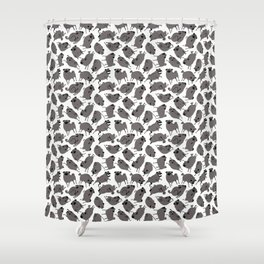 Peppy Black Pug pattern - black and white Shower Curtain