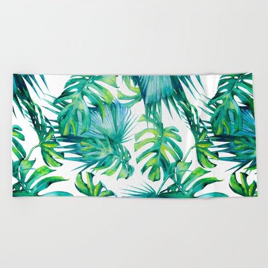 Blue Jungle Leaves, Monstera, Palm #society6 Beach Towel