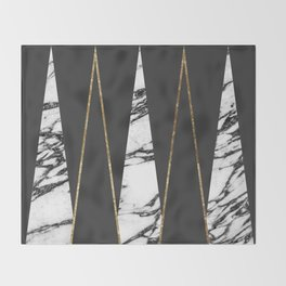 Long Modern Marble Black and Gold Triangles Throw Blanket
