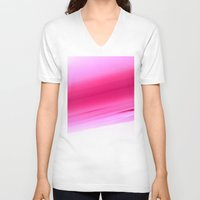 ombre V-neck T-shirts featuring Pink Ombre by SimplyChic