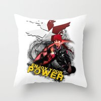 "infamous Throw Pillows featuring InFamous Second Son - ""ENJOY YOUR POWER"" by Emme Gray"