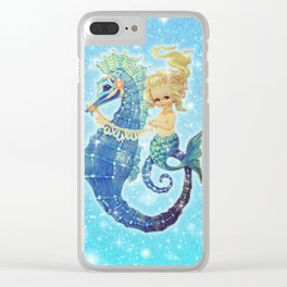 Baby Blue Mermaid Seahorse Clear iPhone Case