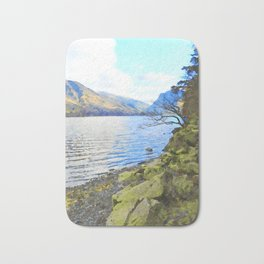 Little Tree at Buttermere, Lake District, England Watercolour Painting Bath Mat
