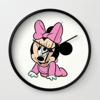 minnie mouse Wall Clocks featuring Cute baby Minnie Mouse by Yuliya L