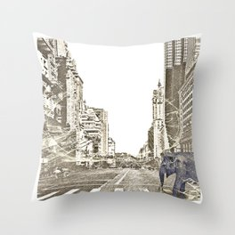Elephant in New York Picture Throw Pillow