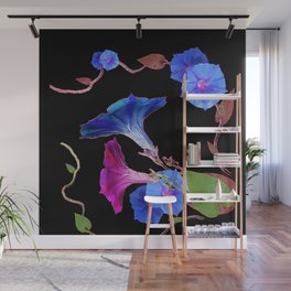 Black  Color Blue Morning Glory Art Design Pattern Wall Mural