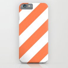 Coral diagonal striped pattern Slim Case iPhone 6s