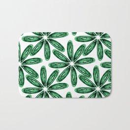 Ballpoint Flower Pattern in Green Bath Mat