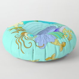 Waves & Fishes Floor Pillow