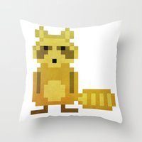 racoon Throw Pillows featuring Pixel Racoon by Olivier Boisseau