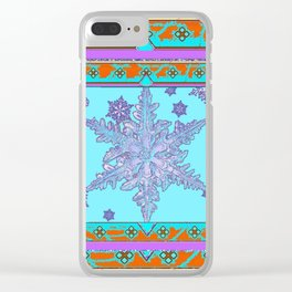 BLUE ICELANDIC STYLE BLUE-LILAC SNOWFLAKE ART Clear iPhone Case