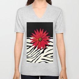 Animal Print Zebra Black and White and Red flower Medallion Unisex V-Neck