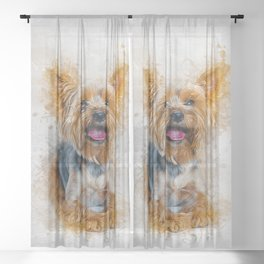 Yorkshire Terrier Sheer Curtain
