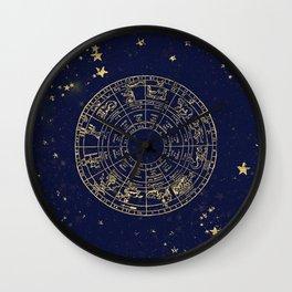 Metallic Gold Vintage Star Map Wall Clock