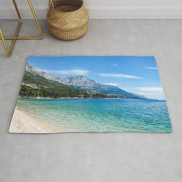Blue Ocean Beach | Caribbean Island Clear Water Waves in Europe Mountain Landscape Beautiful Sky Rug