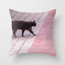 Cat Walking  6589 Throw Pillow
