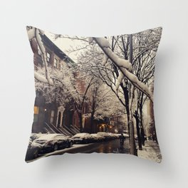 Photo of the beautiful Brooklyn Heights covered in icy snow Throw Pillow