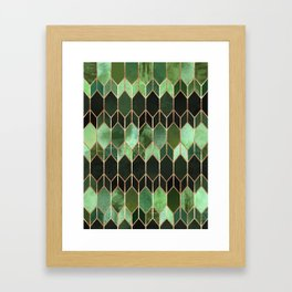 Stained Glass 5 - Forest Green Framed Art Print