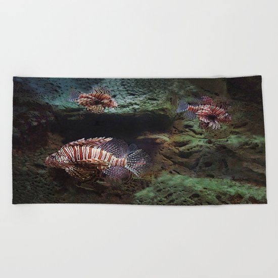 Everything's Fine on the Lion Fishway Beach Towel