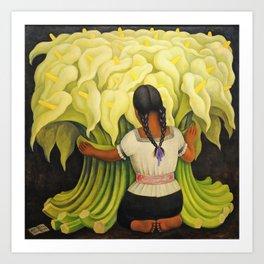 The Cuauhnāhuac Calla Lily Vendor by Diego Rivera Art Print