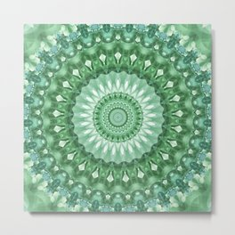 Emerald Green Mandala Metal Print