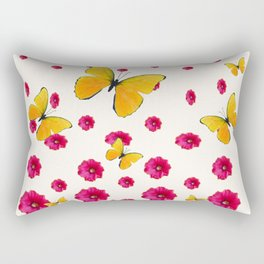 PINK HOLLYHOCKS & YELLOW BUTTERFLY LOVERS ART Rectangular Pillow
