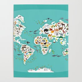 Cartoon animal world map for children and kids, Animals from all over the world Poster