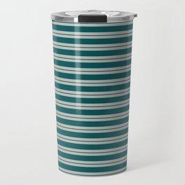 BM 2019 Trending Color Beau Green 2054-20 & COY 2019 Metropolitan Double Bold Horizontal Stripes Travel Mug