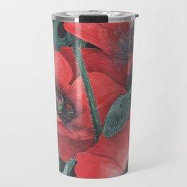 Poppies on Dark Background Travel Mug