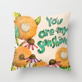 You are My Sunshine- Illustration Throw Pillow