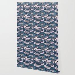 Shapes and swirls pattern Midnight Blue Combo Wallpaper