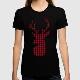 Red Plaid Deer Stag Design T-shirt