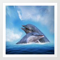 dolphins Art Prints featuring Dolphins by Susann Mielke