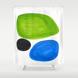 Mid Century Vintage Abstract Minimalist Colorful Pop Art Lime Green Phthalo Blue Black Bubbles Shower Curtain