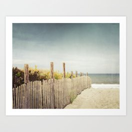 Beach Fence Photography, Blue Brown Coastal Photo, Seashore Dune Sand, Ocean Seaside Art Print