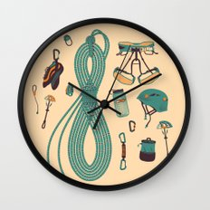 Climbing gear square Wall Clock