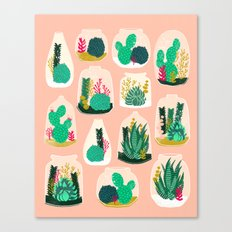 Terrariums - Cute little planters for succulents in repeat pattern by Andrea Lauren Canvas Print