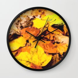Colorful background of autumn leaves Wall Clock