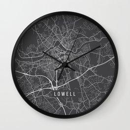 Lowell Map, USA - Gray Wall Clock