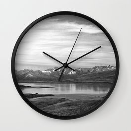 Lake Tekapo New Zealand-Black and White Wall Clock