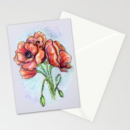 Poppy Flowers Sketch Stationery Cards