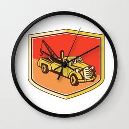 Vintage Tow Truck Wrecker Shield Retro Wall Clock