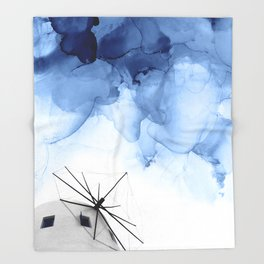 Blue Abstract Painting, Windmill Photography Throw Blanket