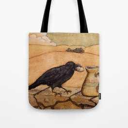 Crow and Pitcher from Aesop's Fables - Necessity is the mother of invention Tote Bag