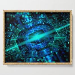abstract green blue star fractal with bokeh Serving Tray