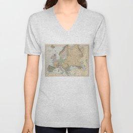 Vintage Map of Europe (1892) Unisex V-Neck