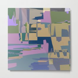 Pale Existence - Abstract, pastel purple, blue, mustard and green painting Metal Print
