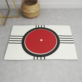 Abstract Red Circle Rug